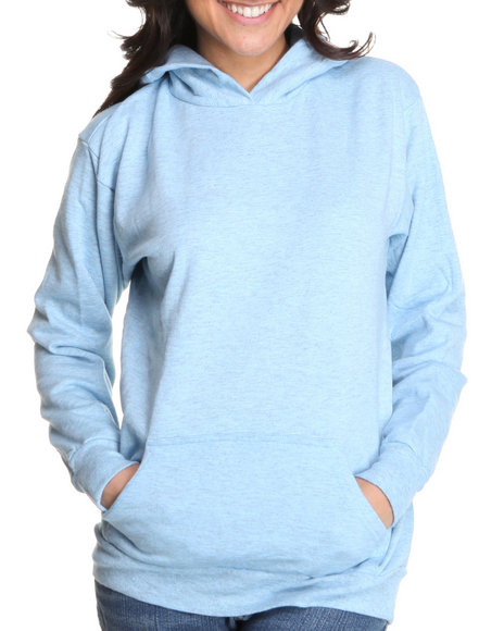 Basic Essentials Women Blue Fleece Hoodie Pullover