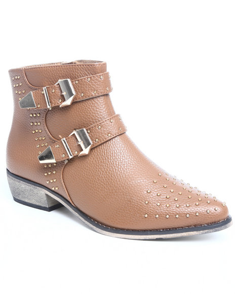 Fashion Lab Women Brown Alicia Studded Bootie W/Buckle Detail