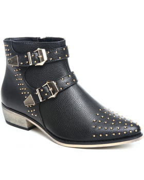 Fashion Lab - Alicia studded bootie w/buckle detail