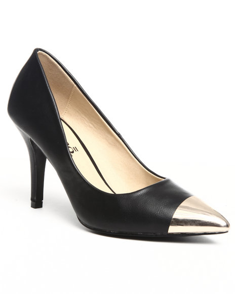 Fashion Lab - Women Black Pump W/Toe Detail