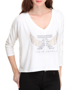 Treys Angels - Solid Dolman Top Sheer Striped Back