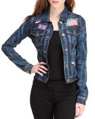 Denim Jackets - Basic denim jacket w/patches