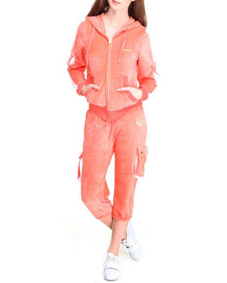 Rocawear Women Orange What's Good Capri Velour Colorblock Set