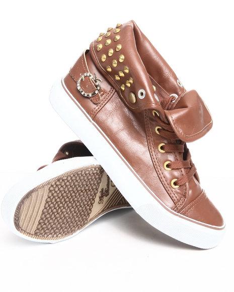 Apple Bottoms Women Brown Benson Studded Sneaker