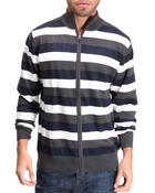 Buyers Picks - Multi striped mock neck zip down cardigan
