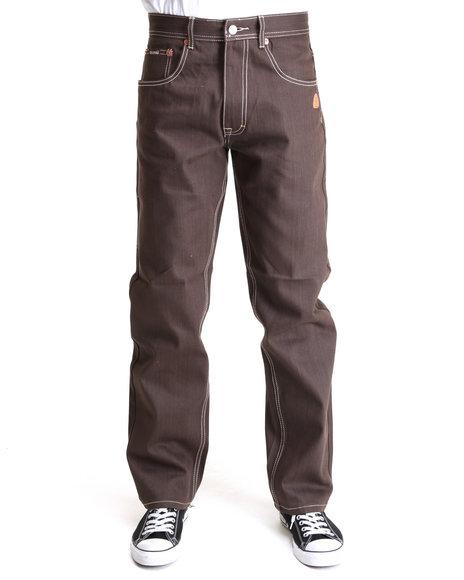 Akademiks Men Brown The 365 Raw Denim Jeans