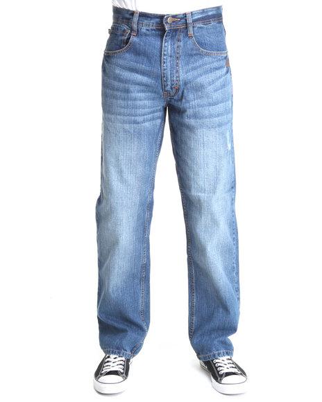 Akademiks Men Medium Wash Rolodex Blasted Signature Denim Jeans