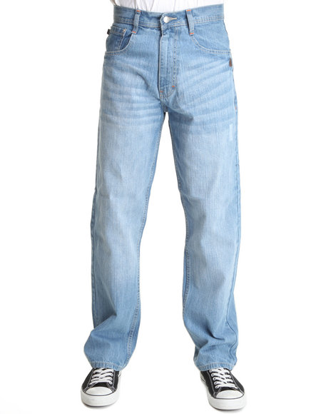 Akademiks - Men Light Wash Rolodex Blasted Signature Denim Jeans