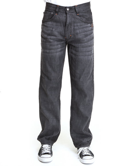 Akademiks - Men Charcoal Rolodex Blasted Signature Denim Jeans