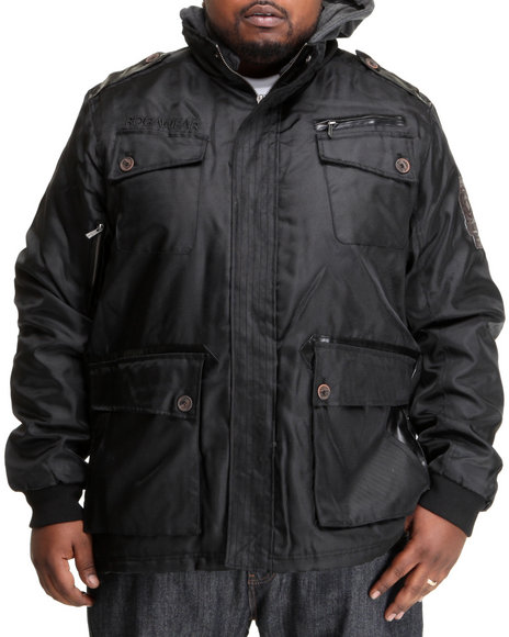 Rocawear Men Black Roc Paratrooper Nylon Jacket (B & T)