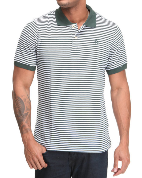 Akademiks Men Green The Winger Striped Pique Polo