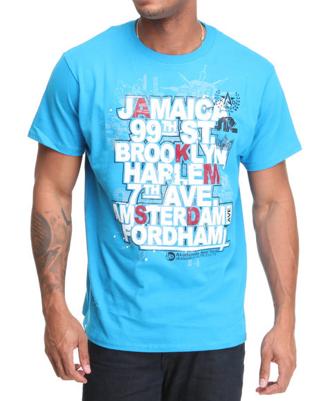 Akademiks Men Blue Da Block Tee
