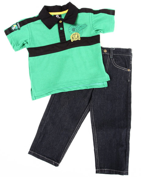 Akademiks Boys Green 2 Pc Set - Polo & Jeans (2T-4T)