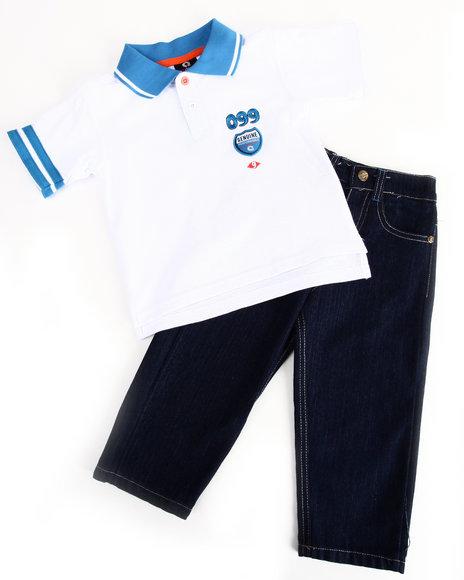 Akademiks Boys White 2 Pc Set - Polo & Jeans (2T-4T)