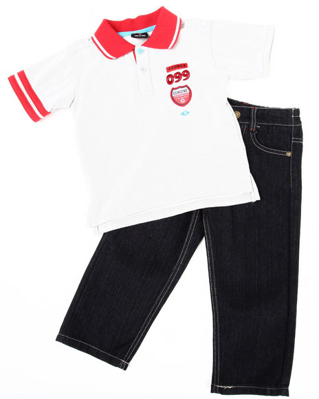 Akademiks Boys Light Grey 2 Pc Set - Polo & Jeans (2T-4T)