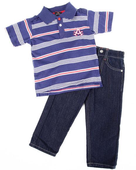 Akademiks Boys Navy 2 Pc Set - Polo & Jeans (2T-4T)
