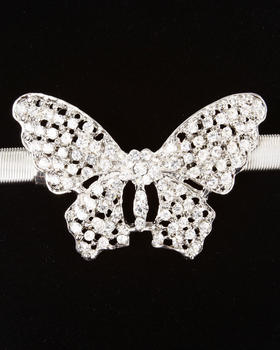 XOXO - Silver Butterfly Metal Stretch Belt