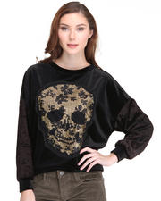 Tops - L/S Skull Sequens Velvet Shirt