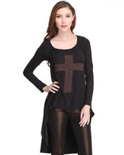 Dresses - L/S Shirt Dress w/ Stud Cross Detail