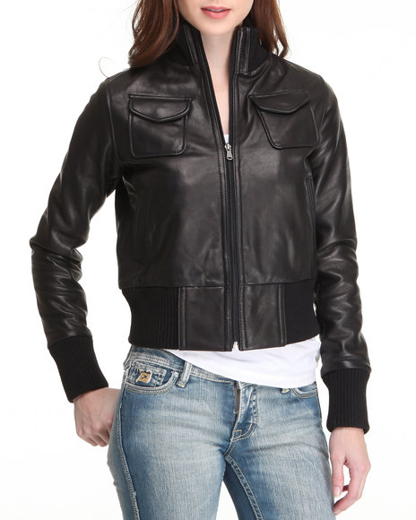 Drj Leather Shoppe - Women Black Leather Bomber Jacket