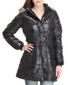 Women - QUILTED W/ BELT VEGAN  JACKET w/ Faux Fur Hood