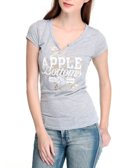 Apple Bottoms Women Grey Ab Logo Split Neck Tee
