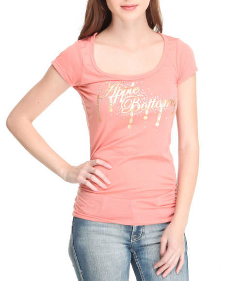 Apple Bottoms Women Orange,Pink Ruched Sides Logo U-Neck Tee