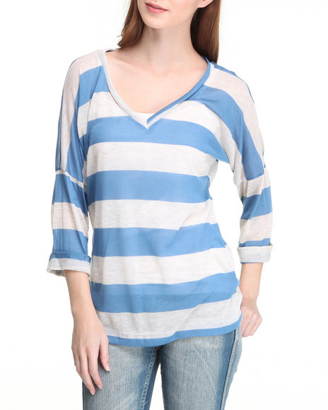 Fashion Lab - Women Blue,White Social House V Neck Stripe Sweater - $7.99