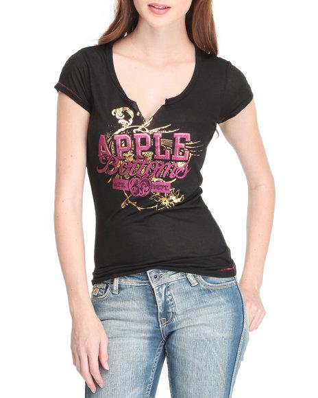 Apple Bottoms Women Black Ab Logo Split Neck Tee