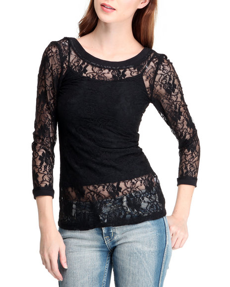 Baby Phat Women Black Lace Top