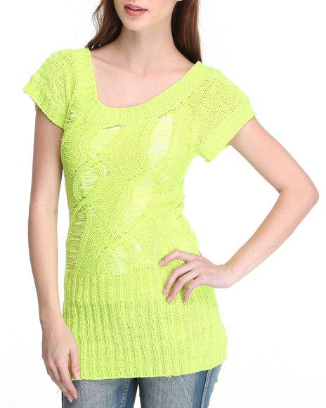 Baby Phat Women Yellow Open Weave Tunic