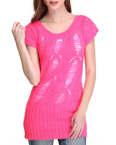 Baby Phat Women Pink Open Weave Tunic
