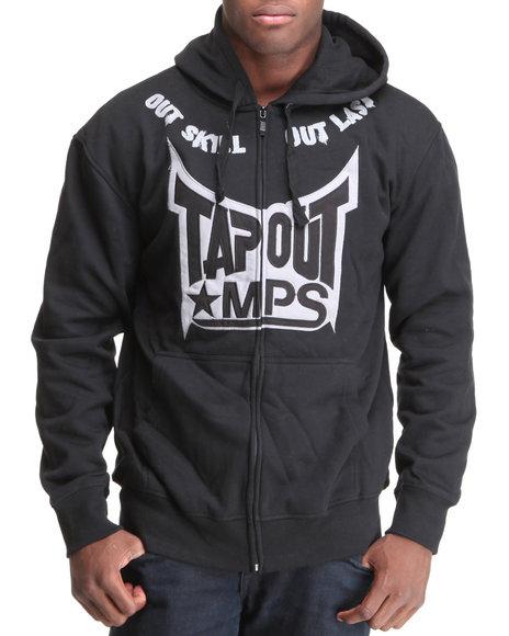 TAPOUT Men Black Tapout Fleece Thermal Zip Hoodie