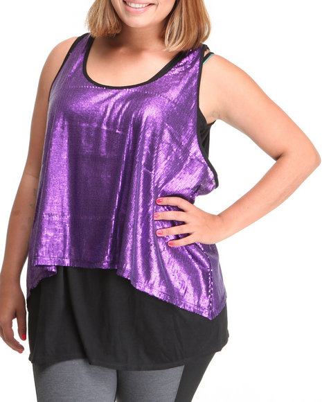 Basic Essentials - Women Purple Sequence Plus Tunic