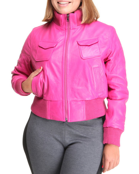Pink Leather Jacket For Women - Jacket