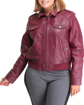K & C Leather - Leather Bomber Jacket (plus)