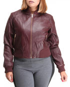 Outerwear - Basic Leather Bomber Jacket (plus)