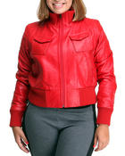 Plus Size - Leather Bomber Jacket (plus)