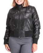 Plus Size - Leather Bomber Jacket