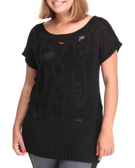 Baby Phat Women Black Open Weave Tunic (Plus Size)