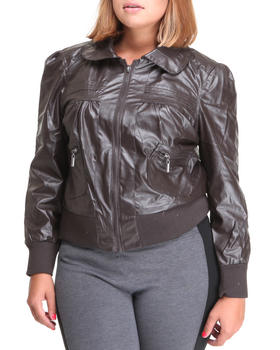 Basic Essentials - FAUX LEATHER BOMBER JACKET  (plus)