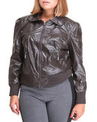 Plus Size - FAUX LEATHER BOMBER JACKET  (plus)