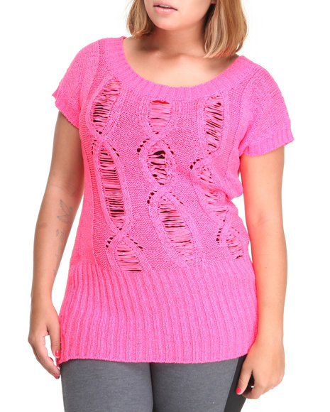 Baby Phat Women Pink Open Weave Tunic (Plus Size)