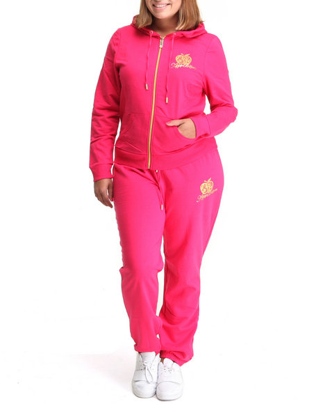 Apple Bottoms Women Red Back Ab Logo Active Hoodie Set (Plus Size)