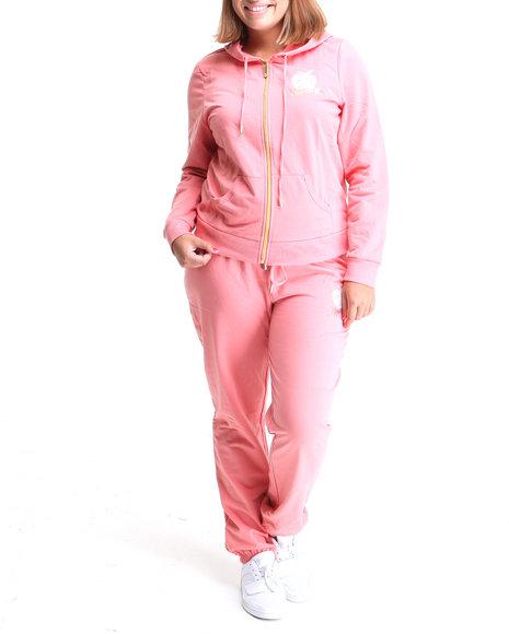 Apple Bottoms Women Pink Back Ab Logo Active Hoodie Set (Plus Size)