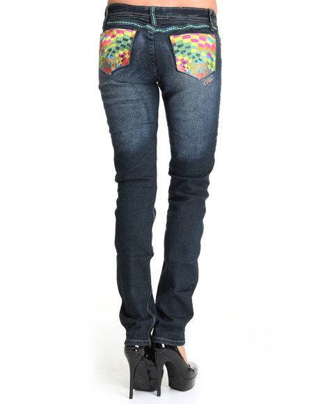 COOGI Women Dark Wash Coogi Multi Colored Back Pocket Slim Jeans