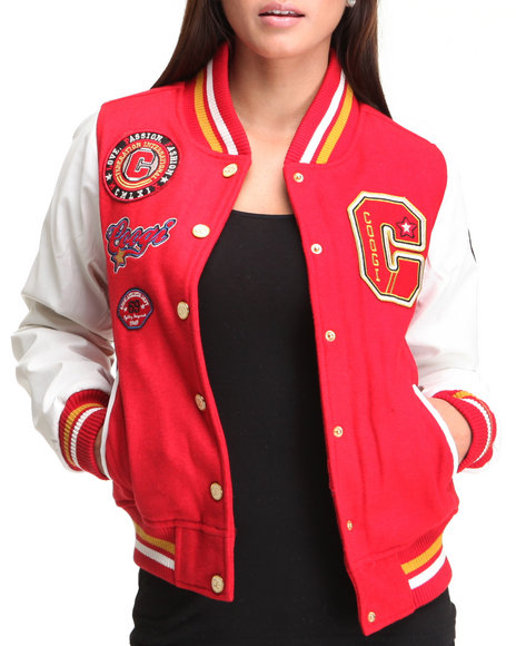 COOGI Women Red Coogi Varsity Wool Jacket W/ Vegan Leather Sleaves Patches