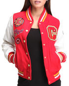 Outerwear - COOGI VARSITY WOOL JACKET W/ VEGAN LEATHER SLEAVES PATCHES