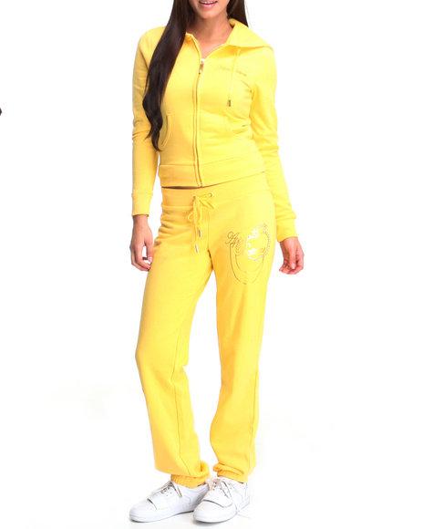 Apple Bottoms Women Yellow Around The Way Active Hoodie Set