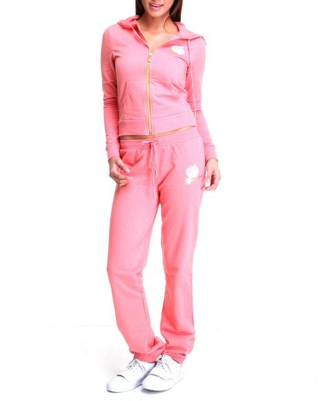 Apple Bottoms Women Orange,Pink Back Ab Logo Active Hoodie Set